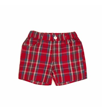 SHORT NIÑO TIRANTES ESCOCES ROJO